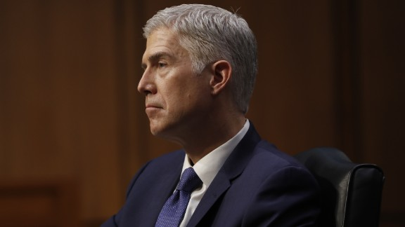 Supreme Court Justice nominee Neil Gorsuch listens on Capitol Hill on March 20, 2017, during his confirmation hearing before the Senate Judiciary Committee.