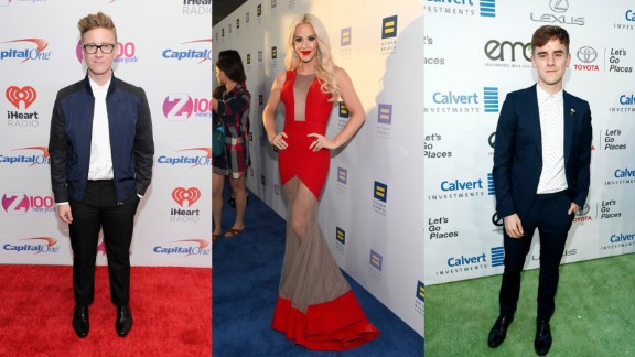 Tyler Oakley, Gigi Gorgeous and Conner Franta, from left, were among the YouTubers affected.