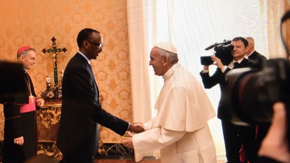 Rwandan President Paul Kagame meets with Pope Francis at the Vatican.