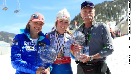 Mikaela Shiffrin with mother Eileen and father Jeff in Aspen.