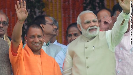 Chief Minister of Uttar Pradesh Yogi Adityanath and Indian Prime Minister Narendra Modi.