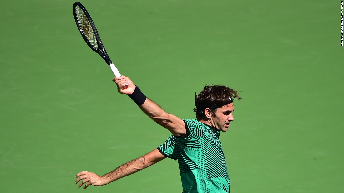 "Roger Federer follows through on a backhand during a semifinal match at the BNP Paribas Open on Saturday, March 8. Federer <a href=""http://www.cnn.com/2017/03/20/tennis/roger-federer-stan-wawrinka-indian-wells/"" target=""_blank"">went on to win the tournament,</a> his fifth title at Indian Wells."