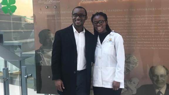 Nancy Abu-Bonsrah and her husband, Kwabena Yamoah, celebrate her match with Johns Hopkins Hospital for a neurosurgical residency.