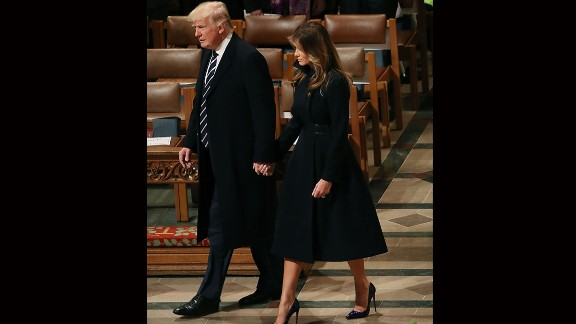 President Donald Trump attends the National Prayer Services with first lady Melania Trump at the National Cathedral on January 21, 2017 in Washington, DC.