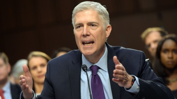 Neil M. Gorsuch testifies before the Senate Judiciary Committee on his nomination to be an associate justice of the US Supreme Court during a hearing in the Hart Senate Office Building in Washington, DC on March 21, 2017. / AFP PHOTO / MANDEL NGAN