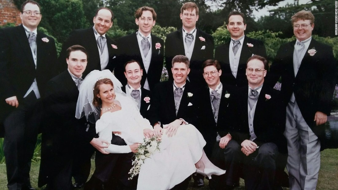 Groomsmen pose for a photograph with Gorsuch and his wife at their wedding in England in 1996.