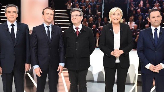 France's presidential candidates sparred for the first time in a TV debate