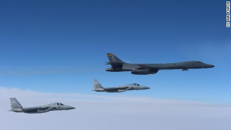 A US Air Force B-1B Lancer flies in formation with Japan Air Self Defense Force F-15s on March 21.