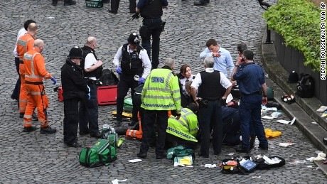 Emergency services at the scene of the attack.