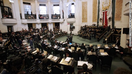 MEXICO CITY, MEXICO: Legislators discuss a law that legalizes abortion in Mexico City, at the city's Congress building, 24 April 2007. Today, legislators in the Mexican capital are expected to pass a legislation legalizing abortion in the megalopolis despite protests from the influential Roman Catholic Church and conservative politicians. The new law would make the Mexico City one of the rare areas in socially conservative Latin America where abortion is not legally restricted to cases where the woman has been raped or faces health risks.  AFP PHOTO/Alfredo ESTRELLA (Photo credit should read ALFREDO ESTRELLA/AFP/Getty Images)