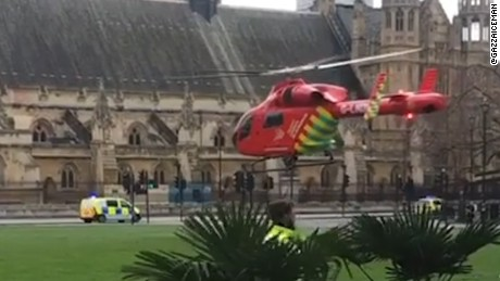 Helicopter hovers outside Parliament