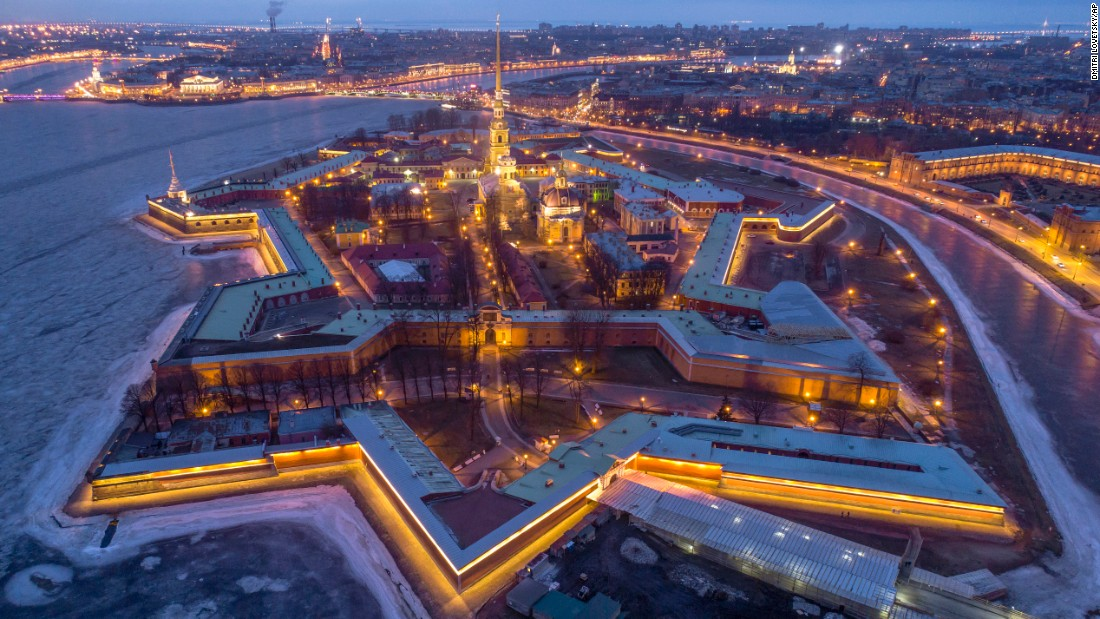 <strong>Saint Petersburg, Russia: </strong>An aerial view of the Saint Peter and Paul Fortress, built in the 18th century on Zayachy Island, also known as Hare Island.