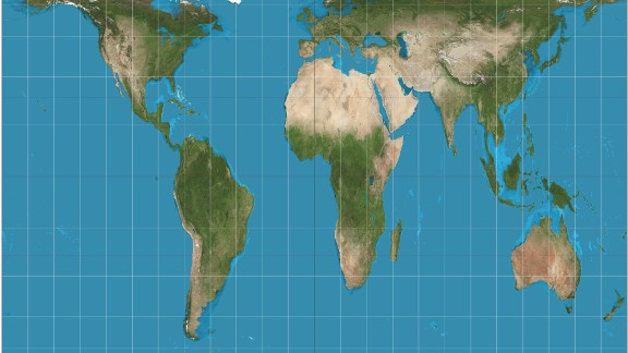 The Peters projection maps areas in their actual sizes relative to each other, but in doing so distorts their shapes.