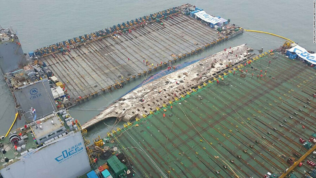 South Korea Sewol Ferry Emerges From The Water  Years After Sinking Cnn