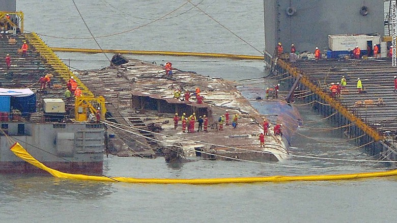 The Vessel Was Carefully Winched From The Seabed And Loaded On Barges For The Return Journey