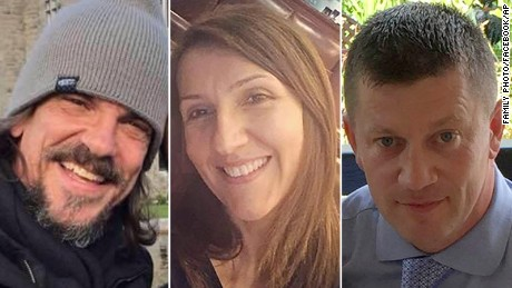 Victims, from left, American tourist Kurt Cochran, teacher Aysha Frade and police Officer Keith Palmer.