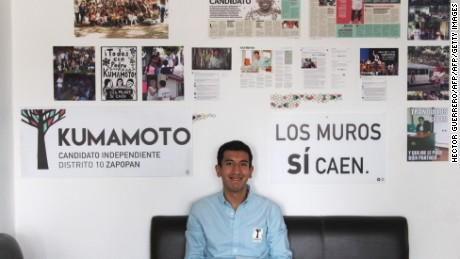 Independent local deputy Pedro Kumamoto poses for a picture in his office in Guadalajara, Jalisco State, Mexico on June 9, 2015. Kumamoto won the local council for the 10th district and is the first independent candidate in the history of the Congress of Jalisco.   AFP PHOTO/HECTOR GUERRERO        (Photo credit should read HECTOR GUERRERO/AFP/Getty Images)
