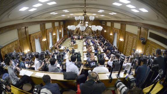 Yasunori Kagoike during his testimony as a sworn witness on March 23.