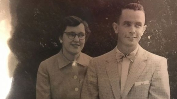 Johnny Jennings with his wife of 61 years.