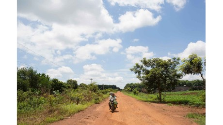 The road leading to Srosomthmy village, in Mamot district, Cambodia.