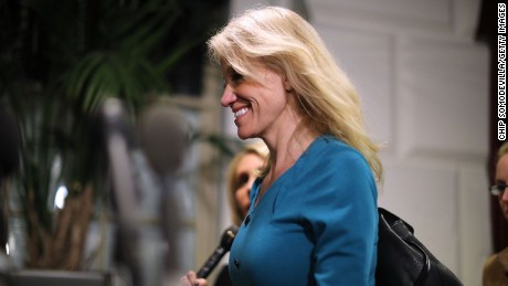 White House Counselor to the President Kellyanne Conway leaves a meeting of the House Republican caucus at the U.S. Capitol March 23, 2017 in Washington, DC.