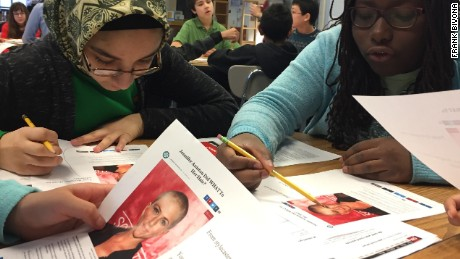 Students at Clemente Middle School in Germantown, Maryland, read a made-up story about actress Jennifer Aniston.