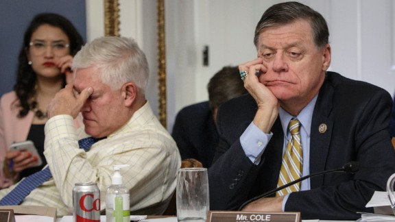 After eight hours of debate on Capitol Hill, US Rep. and Chairman of the House Rules Committee Pete Sessions, left, and US Rep. Tom Cole, vice chair of the committee, listen to arguments from fellow committee members regarding the final version of the GOP health care bill on Wednesday, March 22. House GOP lawmakers have been working to repeal the Affordable Care Act. A vote on the new legislation was set to take place on Friday, but House Speaker Paul Ryan pulled the health care bill from a floor vote after being unable to secure enough support to pass it.