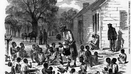 Illustration of slave children being fed at Hilton Head, South Carolina in December 1861.