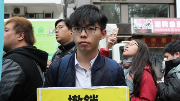 Hong Kong pro-democracy icon Joshua Wong led protests against the Chief Executive selection Sunday.