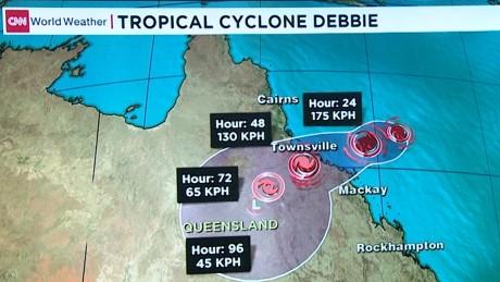 Map Of Australia Video.Cyclone Debbie Bears Down On Australian Coast
