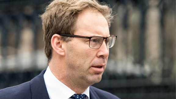 British Conservative Party politician Tobias Ellwood, who gave first aid to the fatally wounded police officer Keith Palmer, one of the casualties of the March 22 London terror attack, arrives at the Houses of Parliament in central London on March 24, 2017.