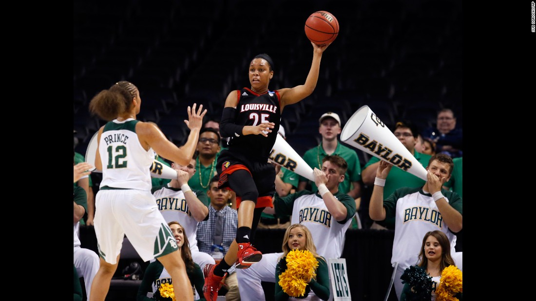 Louisville guard Asia Durr saves a ball from going out of bounds during the first half of a regional semifinal of the women's NCAA Tournament, on Friday, March 24, in Oklahoma City. Louisville fell to Baylor 97-63 in the Sweet 16 round.
