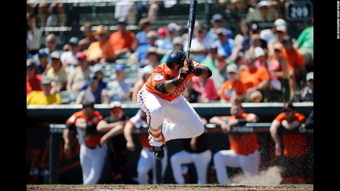 Baltimore Orioles center fielder Aneury Tavarez dodges a pitch while at bat against the Toronto Blue Jays on Tuesday, March 21, in Sarasota, Florida.