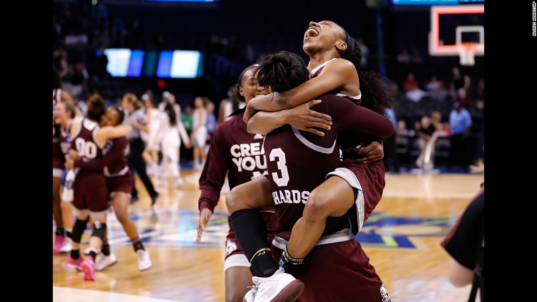 Mississippi State's Morgan William, right, celebrates with teammate Breanna Richardson after beating Baylor during a regional final of the women's NCAA Tournament on Sunday, March 26, in Oklahoma City. Mississippi State won 94-85.