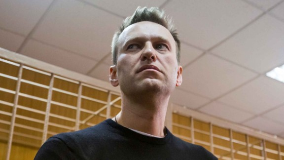 Russian opposition leader Alexei Navalny appears in a Moscow court on Monday March 27, 2017.