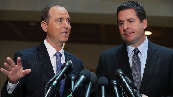 WASHINGTON, DC - MARCH 15: House Intelligence Committee Chairman Devin Nunes (R-CA) (R), and ranking member Rep. Adam Schiff (D-CA) speak to the media about Committee