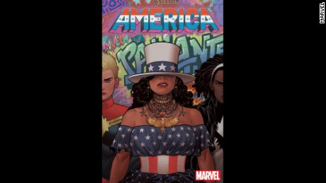 "The main cover for ""America"" #2 by Joe Quinones."