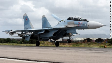A Russian Sukhoi Su-35 bomber lands at the Russian Hmeimim military base in Latakia province, in the northwest of Syria on May 4, 2016. Syria's conflict erupted in 2011 after anti-government protests were put down. Fighting quickly escalated into a multi-faceted war that has killed more than 270,000 people and forced millions from their homes. / AFP / Vasily Maximov / MOY        (Photo credit should read VASILY MAXIMOV/AFP/Getty Images)