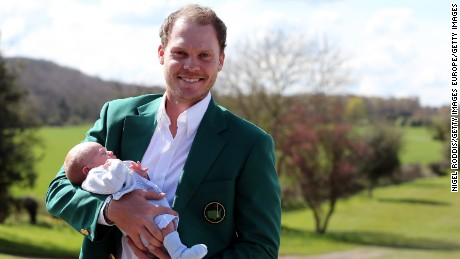WORKSOP, ENGLAND - APRIL 13:  Masters champion Danny Willett poses for photographs wearing the famous green jacket with son Zachariah at Lindrick Golf Club on April 13, 2016 in Worksop, England. Danny Willett is the first Briton in 20 years to win the US Masters.  (Photo by Nigel Roddis/Getty Images)