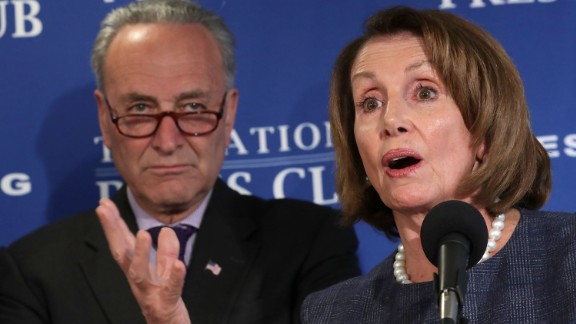WASHINGTON, DC - FEBRUARY 27:  Senate Minority Leader Charles Schumer (D-NY) (L) and House Minority Leader Nancy Pelosi (D-CA) deliver a 'prebuttal' to President Donald Trump's upcoming address to a joint session of Congress at the National Press Club February 27, 2017 in Washington, DC. Trump has been invited by Speaker of the House Paul Ryan (R-WI) to deliver a speech Tuesday on the floor of the House of Representatives.  (Photo by Chip Somodevilla/Getty Images)