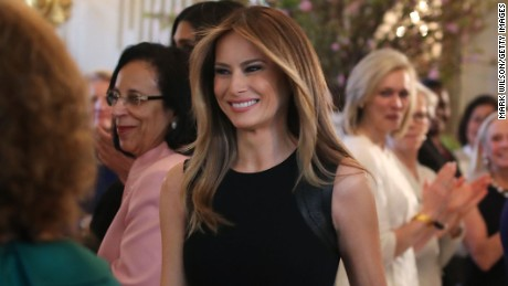 First lady Melania Trump arrives at a luncheon she was hosting to mark International Women's Day on March 8, 2017.
