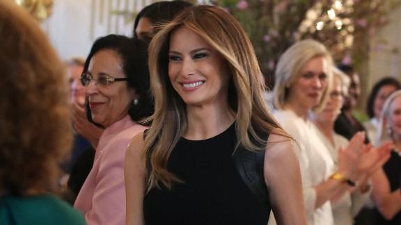 First lady Melania Trump arrives at a luncheon she was hosting to mark International Women