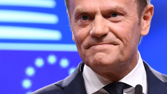 European Council President Donald Tusk addresses a press conference after receiving British Prime Minister Theresa May's formal notice of the UK's intention to leave the bloc under Article 50 of the EU's Lisbon Treaty by Britain's ambassador to the EU, in Brussels on March 29, 2017.  Britain formally launches the process for leaving the European Union on Wednesday, a historic step that has divided the country and thrown into question the future of the European unity project. / AFP PHOTO / Emmanuel DUNAND        (Photo credit should read EMMANUEL DUNAND/AFP/Getty Images)