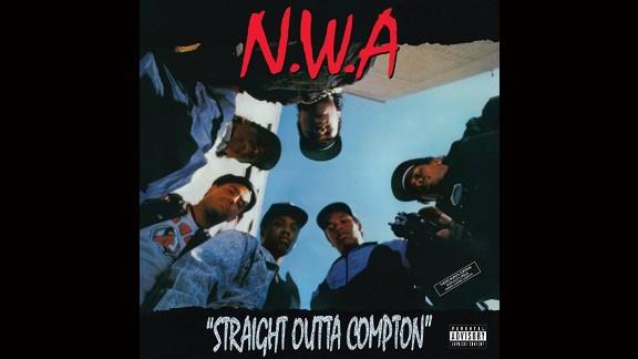 """NWA """"Straight Outta Compton"""" album cover."""