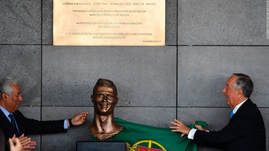 Portuguese President Marcelo Rebelo de Sousa and Prime Minister Antonio Costa were in attendance to also unveil a bronze bust of Ronaldo during the ceremony in Madeira.