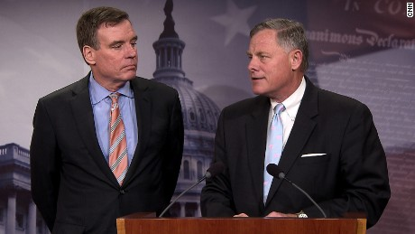 Senator Mark Warner and Senator Richard Burr hold a joint press conference in the Capitol to provide an update on the Committee's investigation of Russian interference in the 2016 election on March 29.