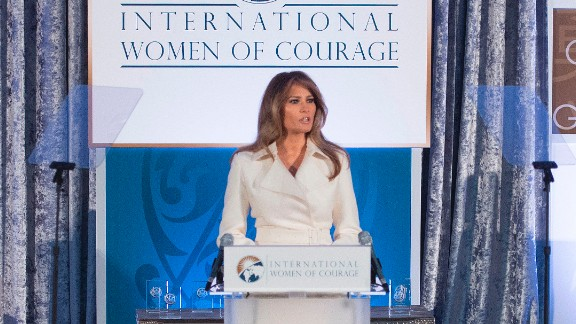 Trump speaks in March 2017 at the Secretary of State's International Women of Courage Awards. She called for women's empowerment and the celebration of diversity.