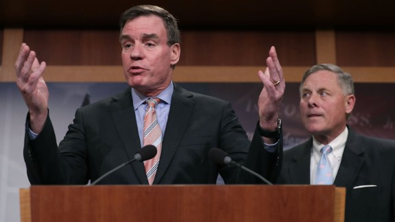 Senate Intelligence Committee ranking member Sen. Mark Warner (D-VA) (L) and Chairman Richard Burr (R-NC) hold a news conference about the committee's investigation into Russian interference into the 2016 presidential election at the U.S. Capitol March 29, 2017 in Washington, DC.