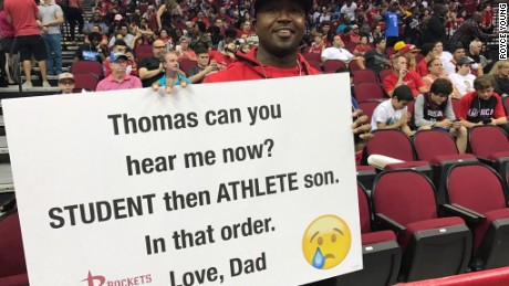 Thomas' dad isn't playing: School comes first.