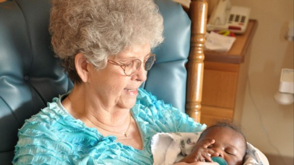 "Bess Jensen volunteers as a ""baby rocker"" at a Nebraska hospital."